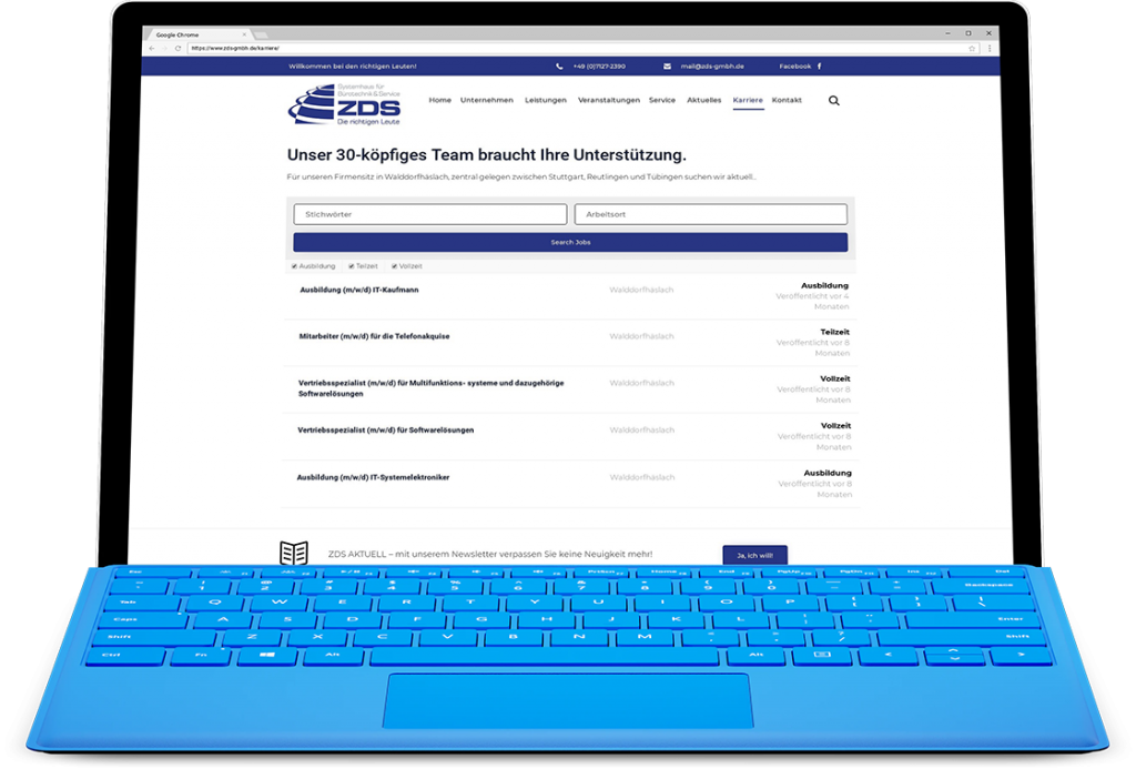 Referenz, ZDS Bürosysteme, Corporate Website mit WordPress