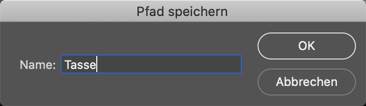 "Photoshop-Bedienfeld ""Pfad speichern"""